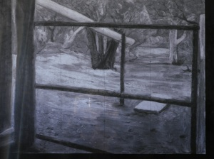 Charcoal rendering work by Angela Walker
